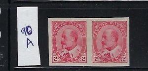CANADA SCOTT #90A 1903-08 EDWARD VII 2C (CARMINE) IMPF MINT HINGED