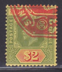 Straits Settlements 166 used neat cancel nice color cv $ 50 ! see pic !