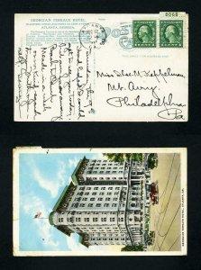 Picture Post Card of Georgian Terrace Hotel, Atlanta Georgia dated 12-12-1917