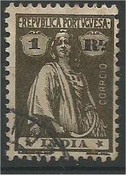 PORTUGUESE INDIA, 1913, used 1r, Ceres Scott 357