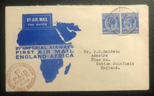 1931 Kampala Uganda KUT First Flight Cover FFC To Sutton Coldfield England