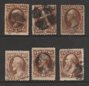 USA a small used lot of Treasury Officials 1c to 7c