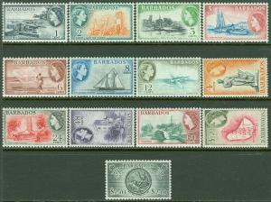 EDW1949SELL : BARBADOS 1953-7 Scott #235-47 Very Fine, Mint OG VLH. Catalog $66