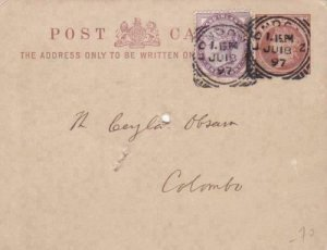 london 1897 to colombo  stamps card ref r15261