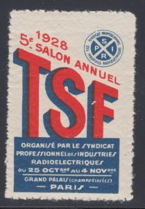 France, 1928 Electric Radio Conference, Paris. MNH VF Cinderella