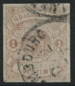 Luxembourg 1863 1c buff with 4 large margins CDS used