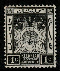 MALAYA KELANTAN SG15 1923 1c BLACK MTD MINT