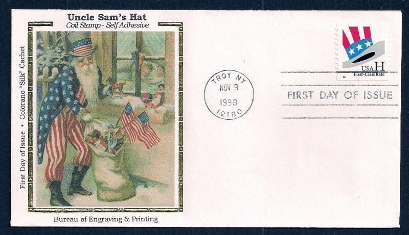 UNITED STATES FDC (33¢) 'H' Rate Unc Sams Hat 1998 Colorano