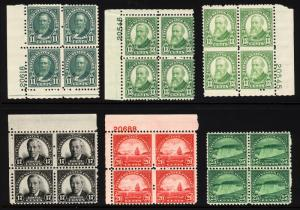 #692-#699 11c-25c 1931 Assorted Blocks & Plate # Blocks Mint & MNH 6 items