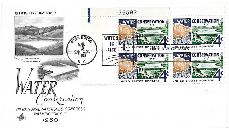 #1150 FDC, 4c Water Conservation, Art Craft cachet, plate block of 4