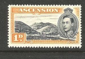 ASCENSION 1938 1d  KGVI  PICTORIAL  MH  SG 39a