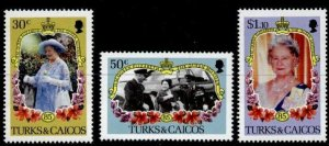 Turks & Caicos 676-8 MNH Queen Mother 85th Birthday, Flowers, Helicopter