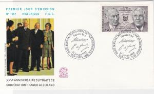 France 1988 25th Anniv France + Germany Slogan Cancels Stamp FDC Cover Ref 31656