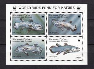 Z3917, 1998 comoro islands sheet of 4 mnh #833e fish WWF