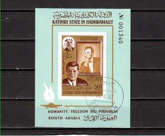 Aden-Kathiri, Mi cat. 164, BL14 B. President J. Kennedy, IMPERF s/sht. Canceled.