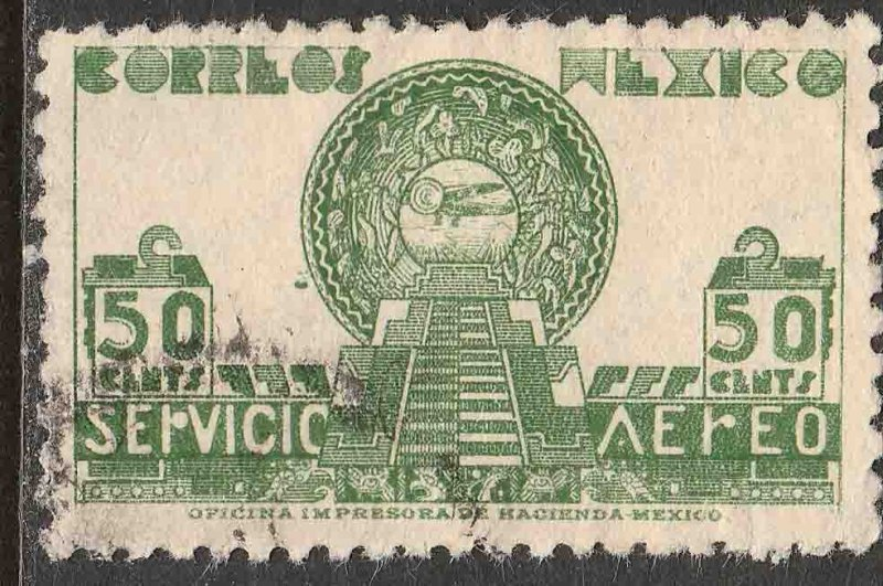 MEXICO C138, 50¢ 1934 Definitive. Aztec Symbols. USED. VF. (794)