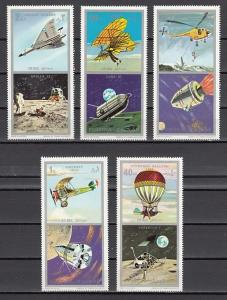 Fujeira, Mi cat. 622-626 A. American & Russian Space Missions issue. Helicopter