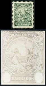 Barbados SG230 1/2d green re-entry to top frame lines M/M