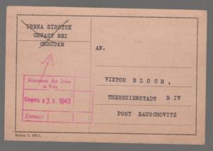 1943 Prague Germany Altestenrat der Juden toTheresienstadt Ghetto postcard Cover