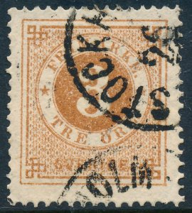 Sweden Scott 17/Facit 17, 3ö orange-brown Ringtyp P.14 near VF Used