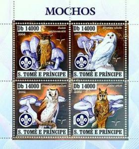SAO TOME E PRINCIPE 2006 SHEET BIRDS MUSHROOMS OWLS SILVER st6407a