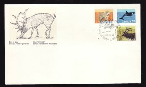 Canada-Sc#1170,1173,1177-stamps on FDC-Mammals-1988-