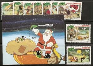 Dominica 706-15 1981 Disney Christmas set and s.s. NH