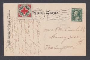 US Sc WX6 on 1910 Christmas Card, Kingsbury, Pa cds ties seal & 1c green Frankli