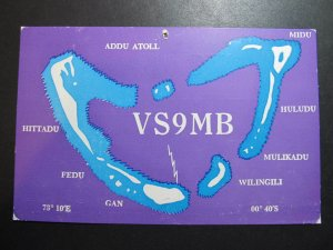 9789 Amateur Radio QSL Card MALDIVE ISLANDS