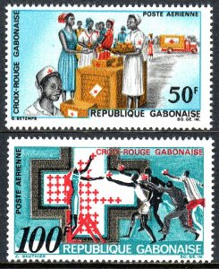 Gabon C68-C69, MNH. Support for Red Cross, 1968