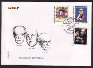 Croatia, Scott cat. 255-257. Composers & Conductor issue on a First day cover. ^
