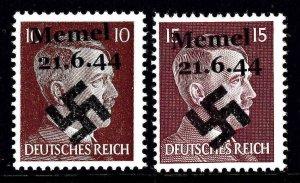 GERMANY 511a-514 MEMEL 21.6.44 OVERPRINT OG NH U/M F/VF BEAUTIFUL GUM