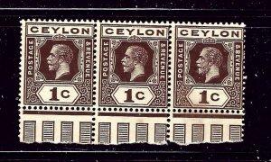 Ceylon 200 MNH 1920 Strip of 3