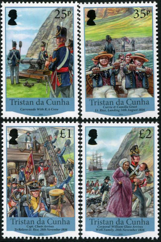 Tristan Da Cunha. 2016. Bicentenary of the British Garrison (MNH OG) Set