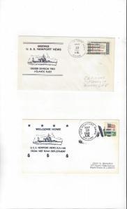 US Navy USS Newport News CA 148, 2 Dif Covers, Nicholson Cachets
