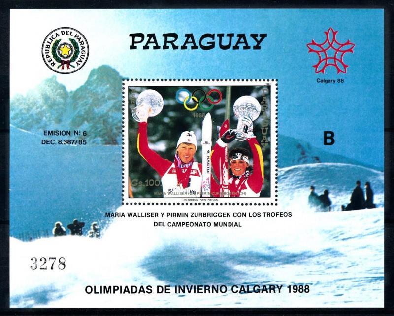 [92276] Paraguay 1987 Olympic Games Calgary Skiing B Sheet MNH