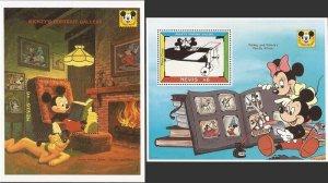 Nevis - 1992 Disney Mickey Mouse Portrait Gallery - Set of 2 S/S - Scott #748-9