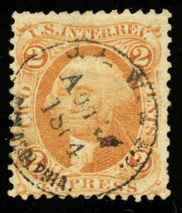 B535 U.S. Revenue Scott R10c 2c Express orange, 1864 handstamp cancel