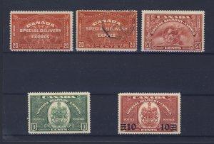 5x Canada Special Delivery Stamps #E4-E5-E6-E7-E9 Guide Value = $59.00