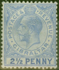 Gibraltar 1917 2 1/2d Pale Ultramarine SG79ba Large 2 in Half Fine Lightly Mtd M