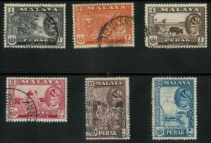 Malaya Perak 127-30, 132-33 Used VF short set