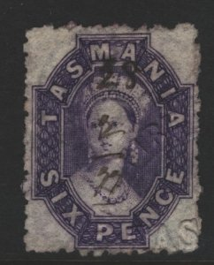 Tasmania Sc#32e Used - Perf 12.5x12.5 - Revenue Embossing