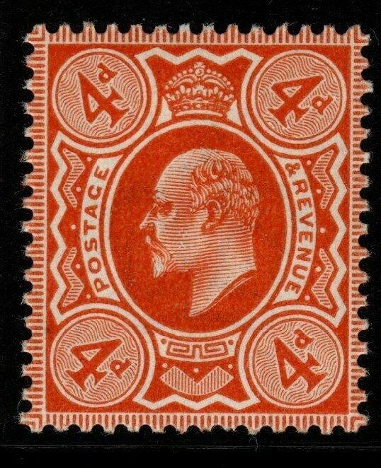GB SG239 1909 4d BROWN-ORANGE D.L.R. MNH (RPS CERT)