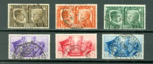 ITALY HITLER-MUSSOLINI #413-418..SET..USED NO THINS..$23.65