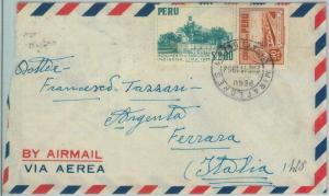 81709  -  PERU - POSTAL HISTORY -   AIRMAIL  COVER to ITALY  1954