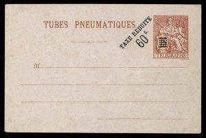 fr001 France Tubes Pneumatiques envelope 60c Taxe Reduite overprint unused