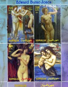 Somalia 2003 EDWARD BURNE-JONES Nudes Paintings Sheet (4) Perforated Mint (NH)
