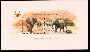 2011   INDIA  -  SG  MS 2818  -  AFRICA / INDIA SUMMIT - ELEPHANTS -  UMM
