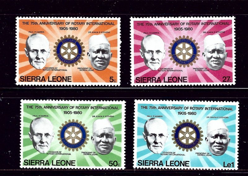 Sierra Leone MNH 477-80 Rotary International 75th Anniversary 1980