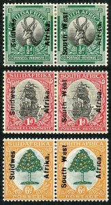 South West Africa SG41/43 1926 Set of 3 with Opt M/M